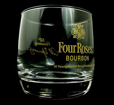 Rare Four Roses Al Young 50th Anniversary Glass Kentucky Bourbon Whiskey Barware