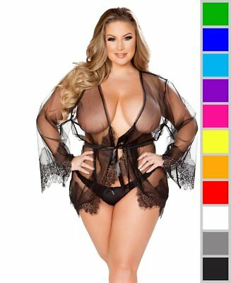 New Roma Costume LI232Q Plus Size Enchanting Eyelash Lace Robe