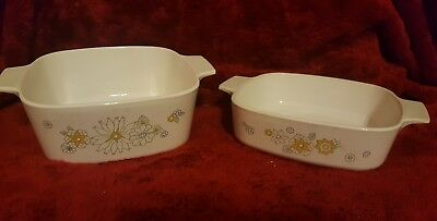 Lot 2: A-1 & 1.25 qt Floral Bouquet Corning Ware Casserole Dish Yellow Daisy