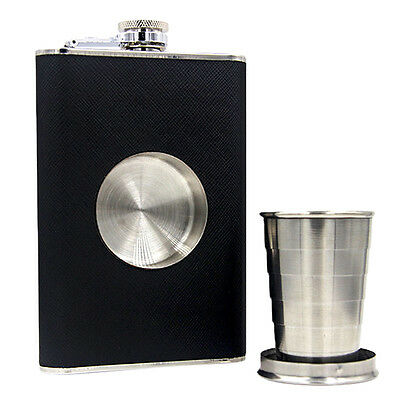 BIN Black Color Alloy 8oz Hip Flask with Collapsible Shot Glass Screw Cap Hip
