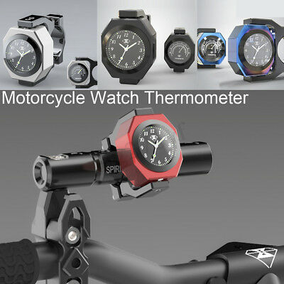 Aluminum Motorcycle Handlebar Watch Thermometer Time Clock Temp Night View new