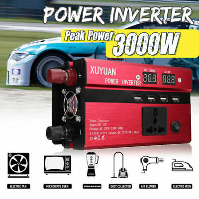 Solar Power Inverter 3000W Peak 12V DC à 220V AC Convertisseur Onduleur Portable