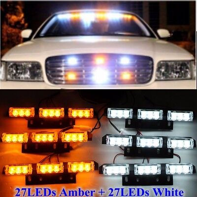 54 LED WHITE + AMBER STROBE RECOVERY FLASHING LIGHTS GRILL BREAKDOWN BEACON Fast