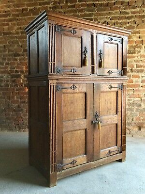 Antique Housekeepers Cupboard Hall Cabinet Solid Oak 18th Century Circa 1790