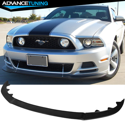 FITS 13-14 FORD Mustang GT Style Front Bumper Lip Unpainted Black  Poly-Urethane