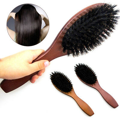 Durable Hair Brush Boar Bristle Beech Massage Comb Wooden Handle Professional