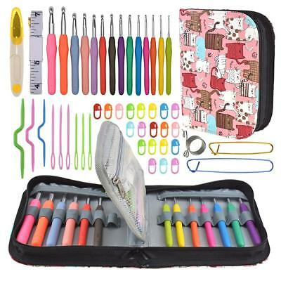 49pcs/Kit Aluminum Crochet Hooks Sweater Sewing Needles Storage Toolkit Bag Set