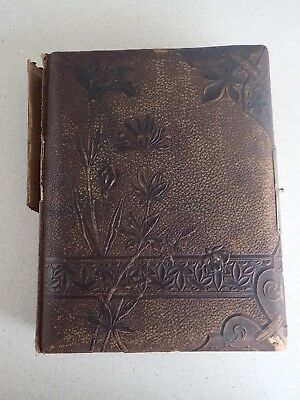 Antique Victorian Embossed Leather Gold Gilt Photo Album With Hand Painted Motif