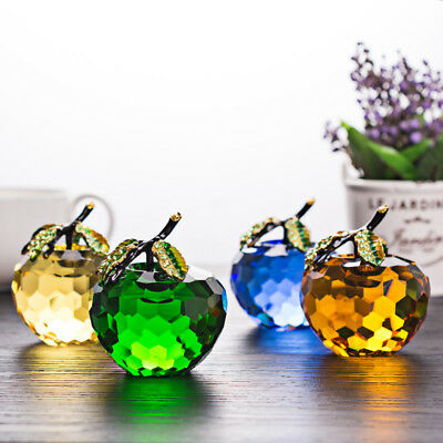 60mm Crystal Glass Apple Paperweight Unique Home Decorations Lady Wedding Gifts