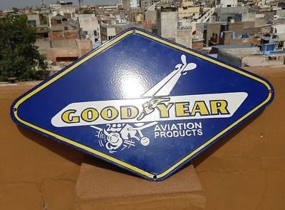 RARE 1930's Old Vintage Goodyear Aviation Products Porcelain Enamel Sign Board