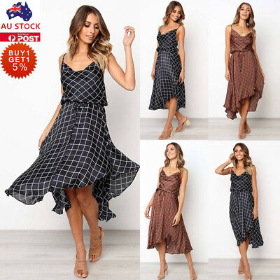 Women Check Ruffled Midi Dress Ladies Plaid Casual Summer Holiday Skater Dress