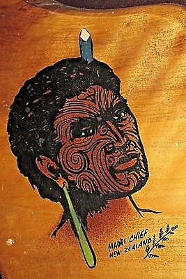 Maori Chief New Zealand on Wood Board Hand Painted 31CmL