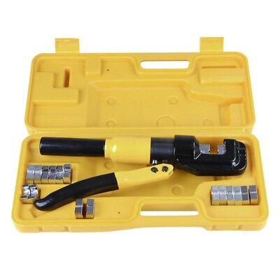 10 Ton Hydraulic Crimper Crimping Tool Kit Wire Battery Cable Lug Terminal 9 Die