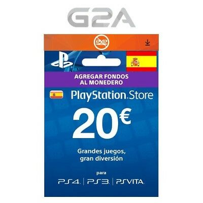 ES €20 PLAYSTATION NETWORK Tarjeta Prepago Card Key PSN PS3 PS4 PSP Code 20 EUR