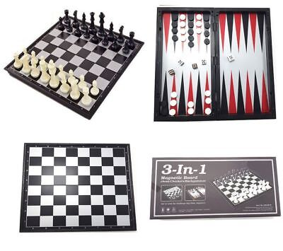 3 IN 1 MAGNETIC CHESS BOARD SET 32x32 CM CHECKERS BACKGAMMON TRAVEL CHESS SET