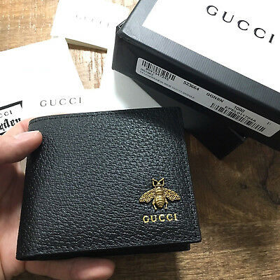 d5f4de887 Authentic GUCCI ANIMALIER BEE GG Black Bifold Leather Men Wallet Purse