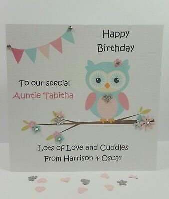 Personalised Handmade Auntie Godmother Birthday Card Niece Nephew Owl