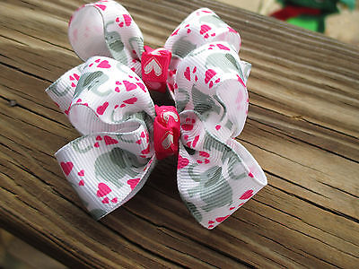 """USA A Pair of Med 2"""" Hair Bows Cute Elephants with red hearts on grosgrain USA"""