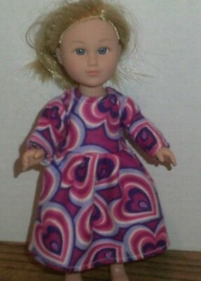 "6-7"" Doll Clothes-fit Mini American Girl My Life-Nightgown-Rainbow Hearts"