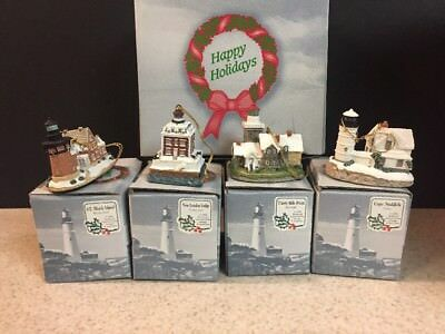 New Set Of 4 Harbour Lights Lighthouse Ornaments Thirty Mile Block Island Cape
