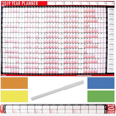 2019 A1 Large Year Month Wall Planner Home Office Calendar Organiser Slim Diary