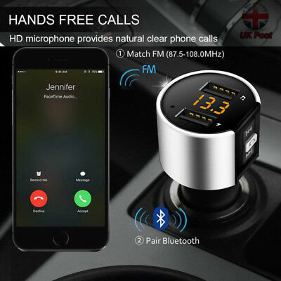 Bluetooth 4.2 Wireless Handsfree Car Transmitter MP3 Player 2 USB Charger Kit FM