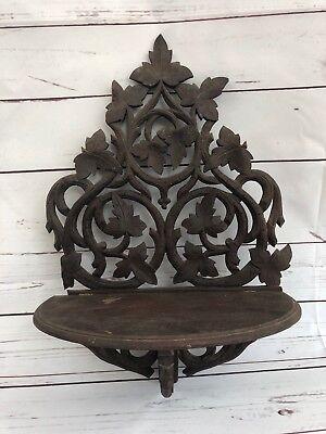 Antique Victorian Solid Walnut Hand Carved Folding Hanging Shelf