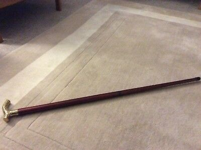"""Solid Mahogany Vintage Walking Stick Brass Head. Two Parts.35 """""""