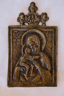 Unusual Old Russian Brass Or Bronze Icon. Madonna & Child. 18Th Or 19Th Century
