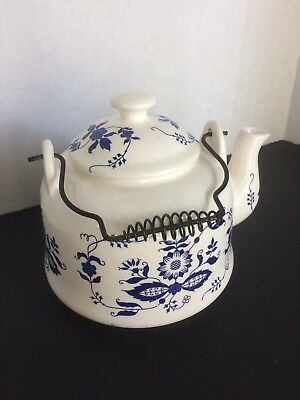 Vintage Japanese White & Blue Porcelain Teapot Large Size Metal handle