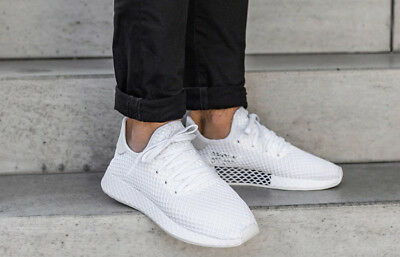 wholesale dealer a3bd4 f9136 NWT Adidas MENS Deerupt Runner Triple White Cq2625 SIZE 11