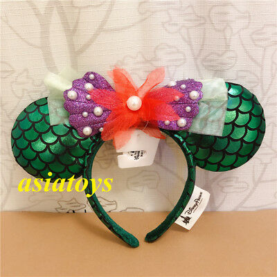 Authentic Disney parks minnie mouse ear headband Ariel the little Mermaid Green