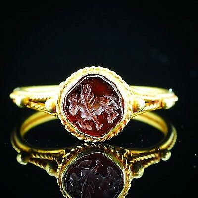 Ancient Genuine Garnet Intaglio Flying Pegasus Flying Horse Solid 22K Gold Ring
