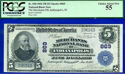 *Rare 1902 $5 National Currency PCGS About New 55 (( Indianapolis )) # 196243