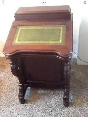 Antique. Davenport Desk Green  Leather Top ...solid Item