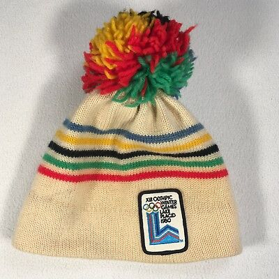 Lake Placid XIII Olympic Winter Games Hat Vintage 1980 100% Wool Adult 1 Size