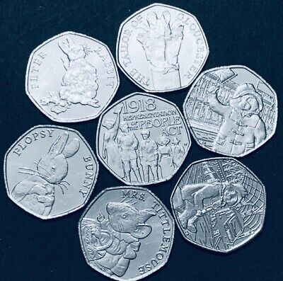 2018 Set 7x UK New 50p Coins Full Set  Beatrix Potter, Act & Pair Paddington