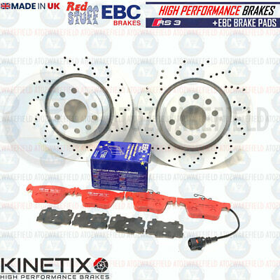 FOR AUDI RS3 15- REAR DRILLED PERFORMANCE BRAKE DISCS EBC RED STUFF PADS 310mm