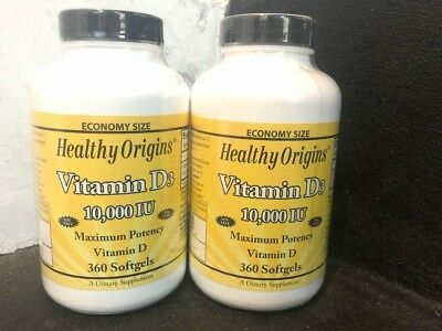 2 x  Healthy Origins Vitamin D3 D-3, 10000iu x 360 Softgels 10,000IU