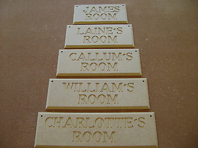 PERSONALISED ROOM NAME PLAQUES HAND CARVED Mdf WOODEN PLAQUES MADE TO ORDER