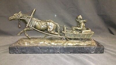 F. Gornik Bronze Sleigh Ride Signed on Marble Base