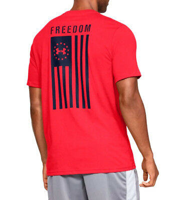 0abfbe135 UNDER ARMOUR UA Freedom Flag Logo Charged Cotton® Red Navy T-Shirt ...