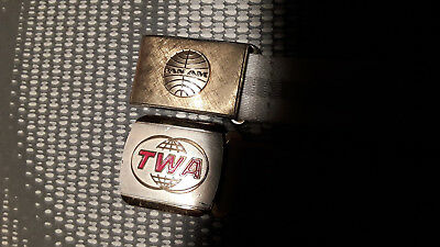 Ceintures TWA et PAN AM vintage collector 1970
