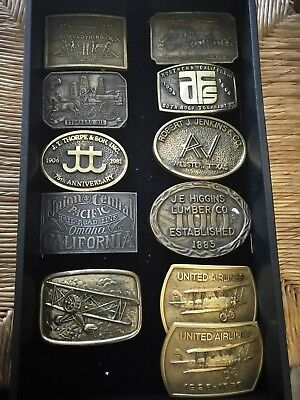 LOT OF 12 Vintage BRASS Belt Buckles - Advertisment - Levis, Union Pacific, etc.