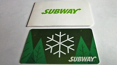 "Subway Gift Card "" Snowflake Pine Trees "" Holiday Unused $0 Balance 0716 L@@k Nr"