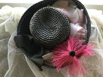 Vintage ladies straw hat w hot pink feather flower & pale pink millinery roses