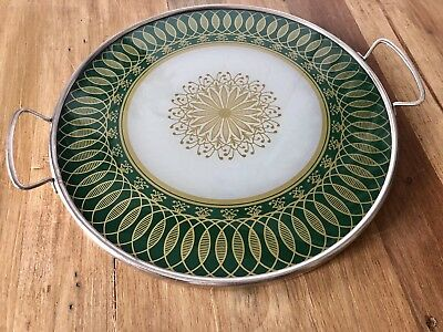 Vintage Round Mid Century Modern Glass Top Serving Tray Retro Graphics Green
