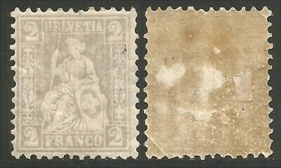 Switzerland 1862 SC #100 Helvetia 2c grey MH * Cat C$145.00 (2)