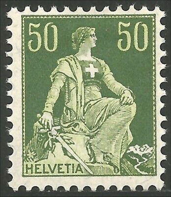 Switzerland 1908 Helvetia 50c green MH * (24)
