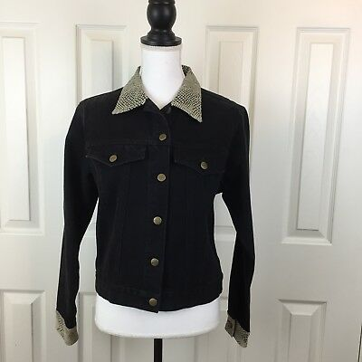 AMI Womens  Black Denim Jacket SMALL Faux Leather Snakeskin Collar Western Rodeo